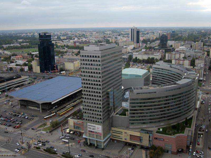 Widoki z Pałacu Kultury - Dworzec Centralny i parę wieżowców