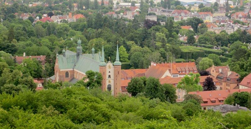 Bazylika archikatedralna w Gdańsku-Oliwie widziana z Pachołka